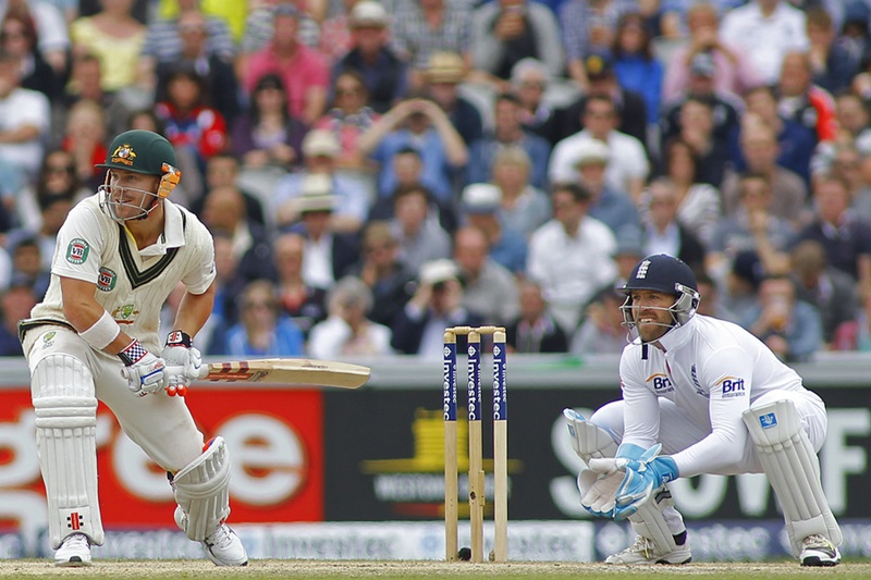 MANCHESTER, ENGLAND - August 04 2013: David Warner batting during day four of  the Investec Ashes 4th test match at Old Trafford Cricket Ground, on August 04, 2013 in London, England.